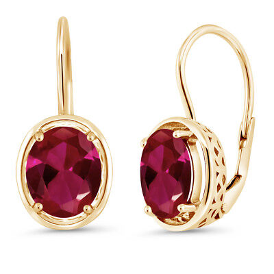 4.00 Ct Oval Red Created Ruby 18K Yellow Gold Plated Silver Dangle Earrings