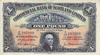 COMMERCIAL BANK OF SCOTLAND 1 POUND NOTE 1941 S-331b NICE