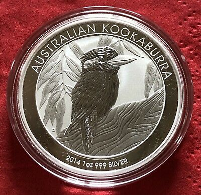 1 Troy Oz 999 Silver 2014 Australia Kookaburra Perth Mint One Dollar