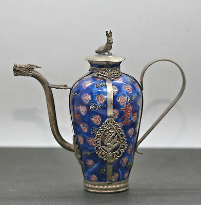 Antique Chinese Wine Pot Made Of Hand Painted Porcelain Mounted In Silver