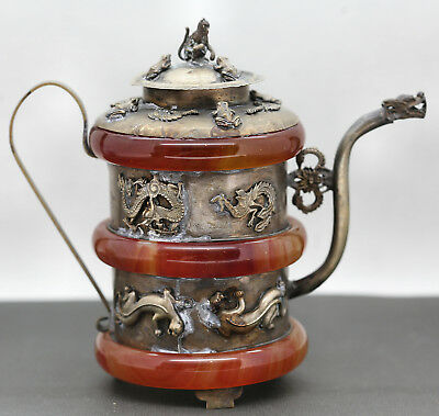 Stunning Antique Chinese Silver & Camelian Decorative Wine Pot Silver Marked