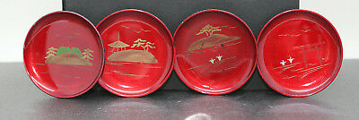 Four Antique Japanese Hand Painted Lacquer Wooden Small Plates