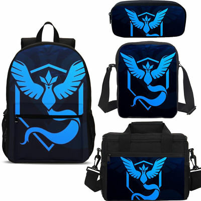 Pokemon Go Team Mystic Backpack Insulated Lunch Box Shoulder Bag Pencil Case Lot