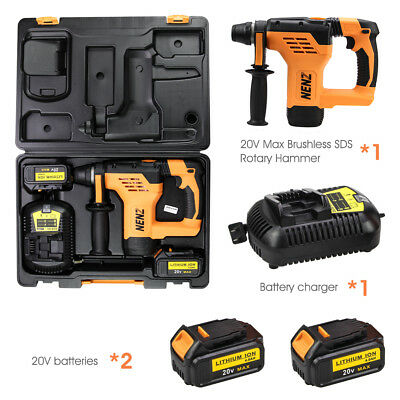 2 for Dewalt 20v Battery,NZ-80 Max 600W Brushless Rotary Hammer+DCB105 Charger