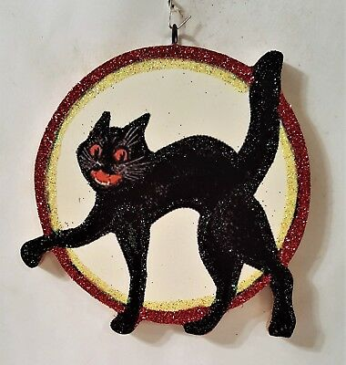 BLACK CAT in FULL MOON * Glittered WOOD HALLOWEEN ORNAMENT * Vtg Img