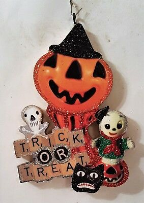 JOL PUMPKIN MAN, TRICK oR TREAT, CAT,  * Glittered  HALLOWEEN ORNAMENT * Vtg Img