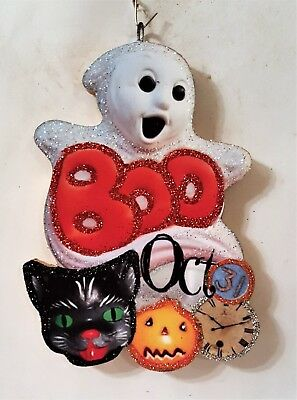GHOST, BOO, OCT 31, BLACK CAT, JOL, CLOCK * Glitter HALLOWEEN ORNAMENT * Vtg Img
