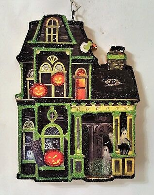 HAUNTED HOUSE, PUMPKINS & GHOSTS  * Glitter HALLOWEEN ORNAMENT * Vtg Img