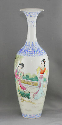 Beautiful Vintage Hand Painted Eggshell Porcelain Tall Vase Stamp On base