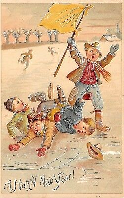 New Year: group of boys on ice skates have fallen on ice, 'Silver' hilites-1905