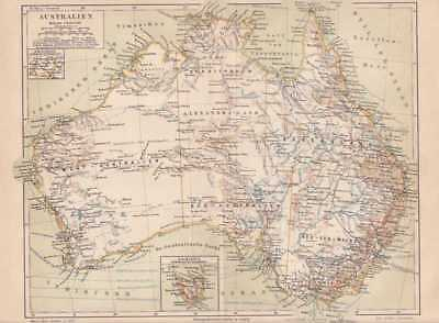 AUSTRALIEN Queensland New South Wales LANDKARTE von 1888 Australia MAP