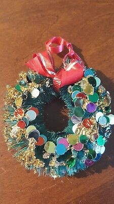 Vintage Christmas GLITTER and SEQUIN Decorated Bottle Brush Tree WREATH Ornament