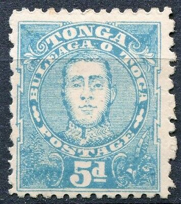 "Tonga 1895, SG 34ba, 5d Blue, Perf 12 x 11, ""BLACK EYE FLAW"", unused, CV £70"