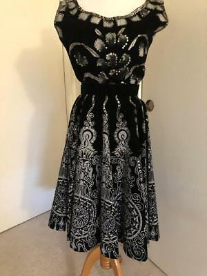 Vintage Mexican hand painted and sequined velvet circle skirt and matching top