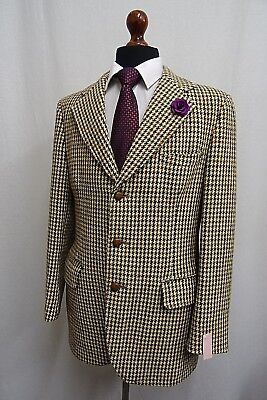 Men's Beige Checked Vintage Harris Tweed Jacket Blazer 38R KK1817