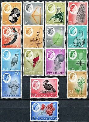 Swaziland 1962 issue set, SG 90 - 105, Mint Hinged, Cat £50