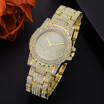 Men Hip Hop Iced out Gold Simulated Diamond Rapper Watch Wristwatch Jewelry