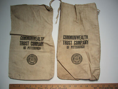 """2 - COMMONWEALTH TRUST COMPANY Pittsburgh PA  14"""" Canvas Bank Money Deposit Bags"""