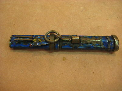 Antique Chinese Knife in Blue Enamel Case