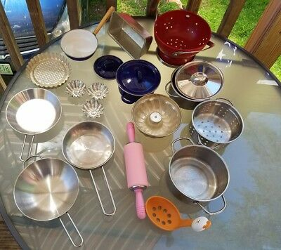 Large lot Stainless Steel Pots Pans Pretend Kitchen steamer wok rolling pin l@@k