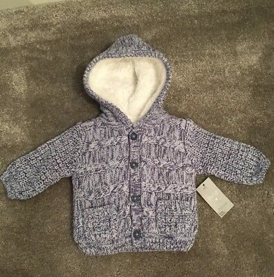 Bnwt Newborn Boys Fully Fleece Lined Knitted Cardigan