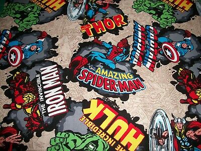 Marvel Comics on beige  cotton    crib/toddler fitted sheet
