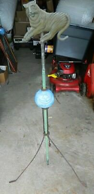 Antique Unique Tiger Topped Lightning Rod w/ Moon & Star Blue Glass Ball Very Gd