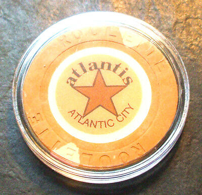 Atlantis CASINO ROULETTE CHIP - 1984 - ATLANTIC CITY, New Jersey - Tan - H