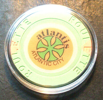 Atlantis Hotel CASINO ROULETTE CHIP - 1984 - ATLANTIC CITY, New Jersey - Green-A