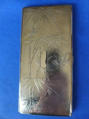 Antique Chinese Export Sterling Silver Cigarette Case Box Bamboo Birds 175 grams