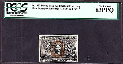 US 50c Fractional Currency Note 2nd Issue Fiber Paper FR 1322 PCGS 63 PPQ Ch CU