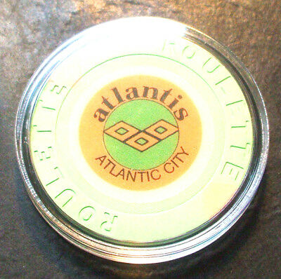 Atlantis CASINO ROULETTE CHIP - 1984 - ATLANTIC CITY, New Jersey - Green-B