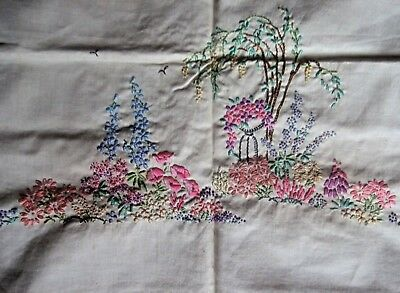 """Vintage Linen Floral Stamped Tablecloth - Partially Embroidered - Approx 33"""" Sq"""