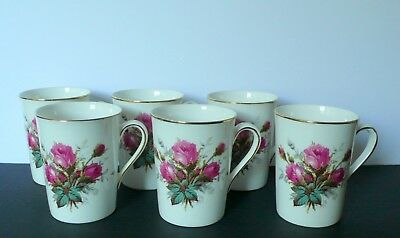 "Set of 6 Hammersley ""GRANDMOTHER'S ROSE"" Bone China Mugs / Cups"