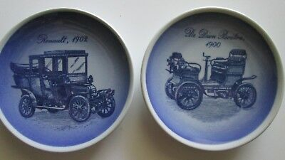 Bing & Grondahl Plates Denmark Antique Car Set of 2 1908 1900 3.25""