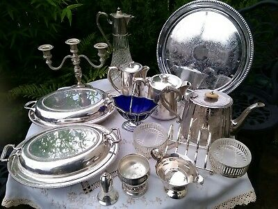 Antique Silver Plated Job Lot Decanter Teapot Candlestick Tureen Toaster Jug