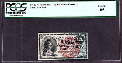 US 15c Fractional Currency Note 4th Issue FR 1271 PCGS 65 GEM CU
