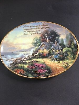 New Day Dawning Thomas Kinkade Guiding Lights Oval Plate By Bradford Exchange