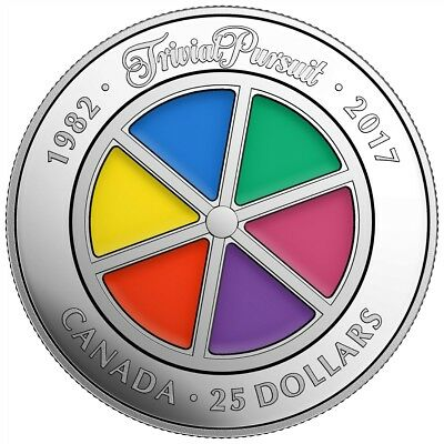 35TH ANNIVERSARY OF TRIVIAL PURSUIT - 2017 $25 1 oz Pure Silver Coin - RCM