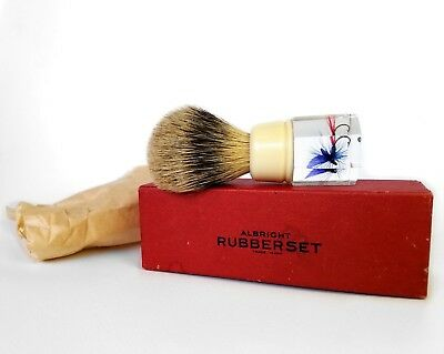 Extremely Rare Vintage Rubberset Fishing Fly Lucite Shaving Brush