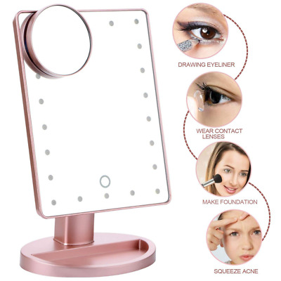 Makeup Stand LED Vanity Mirror Touch Screen 22 Lights 10x Magnifying Rotation US