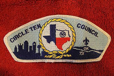 CIRCLE TEN COUNCIL TX / OK (Gold Rope) SHOULDER PATCH -  BSA - BOY SCOUTS - CSP