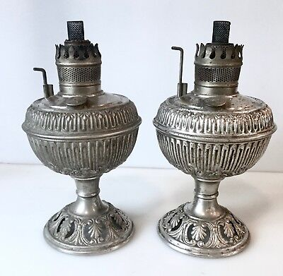 2 Pair Antique 1892 B&H Nickle Plate Kerosene Oil Lamps Embossed Floral Design