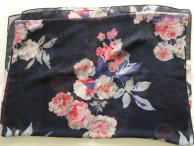 Joules Navy Floral Scarf 78 X 27.5 inches