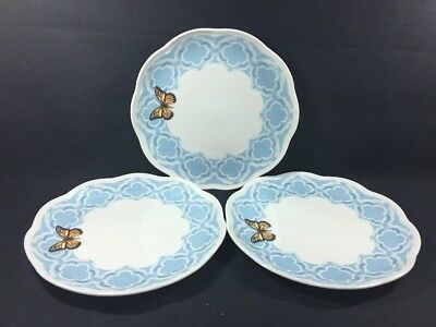 """Set of 3 (9"""") Salad Accent Luncheon Plates Lenox Butterfly Meadow Trellis Blue"""