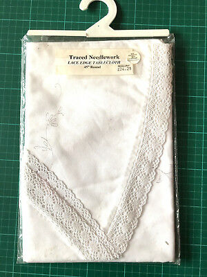 """BNIP Lace Edged Round Tablecloth to Embroider 45""""/114cm Circular PolyCotton New"""