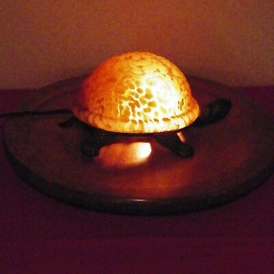 Turtle Shell Brass Base Accent Lamp Night Light Gold Glow Amber