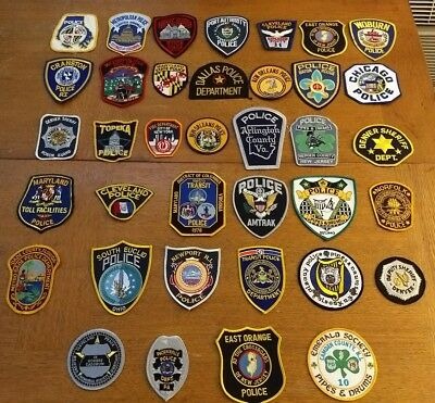 Vintage Mixed Lot Of 37 POLICE SHERIFF Law Enforcement Patches Patch Lot