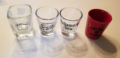 Lot Of 4 SHOT GLASSES  JACK DANIELS FIREBALL TULLYMORE DEW & SAILOR JERRY.