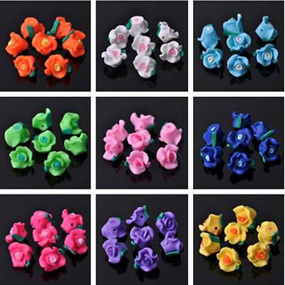 10/20pcs 12/13/15mm Carved Rose Flower Polymer Clay Resin Loose Spacer Beads